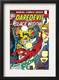 Daredevil 102 Cover: Stiltman, Black Widow and Daredevil Print by Syd Shores