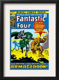 Fantastic Four 116 Cover: Dr. Doom, Thing, Human Torch and Invisible Woman Crouching Poster by John Buscema