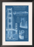 San Francisco, CA, Golden Gate Bridge Technical Blueprint Prints