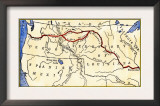 Map of the Lewis and Clark Route across Louisiana Territory, c.1804-1806 Poster