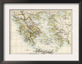 Map of the Aegean Sea in the Time of Ancient Greece Prints