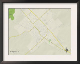 Political Map of Floresville, TX Prints