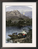 Fur Traders' Boat Piled High with Pelts on the Bear River, Utah Posters