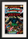 Captain America And The Falcon 204 Cover: Captain America, Falcon and Agron Fighting Prints by Jack Kirby