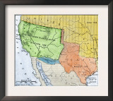 Map of the Territory Ceded by Mexico to the U.S. after the Mexican-American War, c.1848-1853 Print