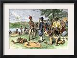 Dutch Merchants Trading with Native Americans on Manhattan Island, c.1600 Prints