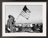 American Flag Bearer at Casablanca Conference, Morocco, c.1943 Poster