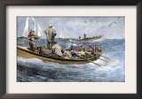 Dories Racing for a School of Fish, Atlantic Ocean, c.1880 Posters