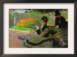 Camille Monet On a Garden Bench Print by Claude Monet