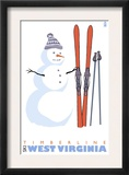 Timberline, West Virginia, Snowman with Skis Print