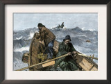Fishermen in a Dory on the Grand Banks Off Newfoundland, c.1880 Posters