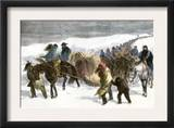 Native American Prisoners Marched across the Snowy Prairie by General George Custer, c.1868 Poster