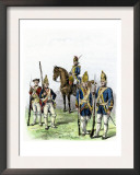British and Hessian Soldiers in the American Revolution Print
