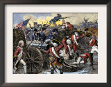 Americans Capturing a British Redoubt during the Battle of Yorktown, c.1781 Posters