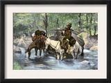 White Trapper Crossing a Mountain Stream Prints