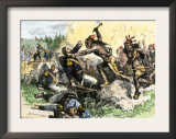 Native Americans Attack the American Garrison at Fort Dearborn in Illinois during the War of 1812 Posters