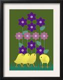 Four Baby Chicks Walking Through Some Flowers Prints