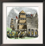 Breaching Tower, Archers, and Cannon Used in a Siege during the Hundred Years' War Prints