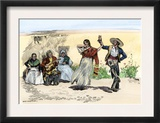 Spanish Californians or Mexicans Dancing the Fandango, 1800s Prints