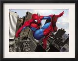 Spider-Man Swinging In the City Art