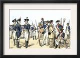 Continental Army Uniforms, 1775-1783, during the Revolutionary War Prints