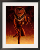 Warrior Wearing Tribal Mask Posters