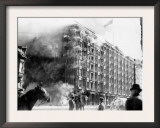 Palace Hotel on Fire after the Earthquake, San Francisco, California, c.1906 Print