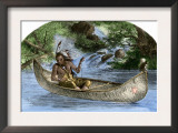 Hiawatha Fishing from a Canoe Poster