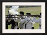 Continental Army Reenactors Firing Their Muskets at Yorktown Battlefield, Virginia Posters