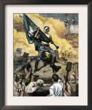 Sergeant Jasper with the South Carolina Flag at the Battle of Fort Moultrie, c.1776 Prints
