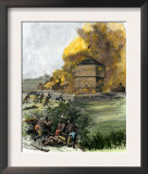 Attack on Fort King by Native Americans under Osceola during the Seminole Wars, c.1835 Prints