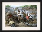 Lumbermen Clearing a Log-Jam on a River, c.1800 Prints