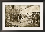 Spanish Armada's Admiral Surrenders His Sword to Francis Drake, c.1588 Print