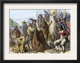Native Americans Aboard Ship to Trade Their Furs to Europeans Print