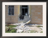 A Rocket Propelled Grenade Damaged This Portion of the Wall on the Side of the City Hall Poster by  Stocktrek Images