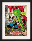 Marvel Comics Retro: The Mighty Thor Comic Book Cover 144, Charging, Swinging Hammer (aged) Prints