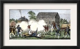 British Troops Firing on Americans at Lexington, First Battle of American Revolution, c.1775 Posters
