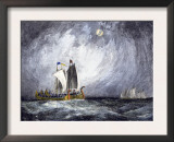 Fleet of Viking Ships at Sea Print