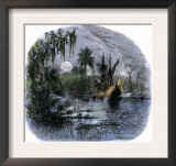 Early Explorers Coming Ashore Along a Tropical Coast in the New World Art