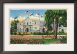 San Antonio, Tx - Exterior View of the Alamo, French, Spanish, Us, Republic, Mexican Flags, c.1944 Print