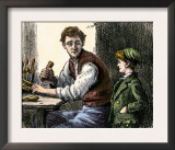 Woodworker Showing Young Boy His Tools and Techniques Prints