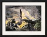 Artillery Siege of Vera Cruz, Mexico, during the Mexican American War, c.1847 Art