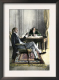 Benjamin Franklin and Richard Oswald in Paris Discussing the Peace Treaty Posters