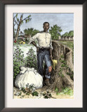 African-American Slave with Bag of Picked Cotton, c.1800 Posters