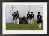 Continental Army Reenactors Firing a Cannon at Yorktown Battlefield, Virginia Art
