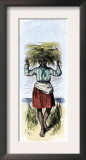 African-American Woman Carrying Sheaves on a Rice Plantation Poster