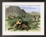 General Custer's Scout Surrounded by Hostile Arapahoes in the Black Hills, Dakota Territory, c.1874 Poster
