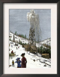 Early Oil Well Gushing in Pennsylvania 1880 Art