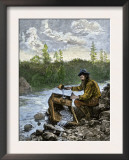 Prospector Washing Pebbles from a Stream Using a Cradle Device to Sparate Gold Nuggets Art