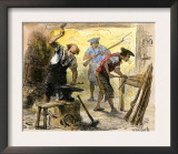 Gunsmiths Forging Muskets for the Minutemen Before the American Revolution, c.1770 Prints